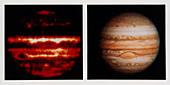Comparison of infrared & optical images of Jupiter