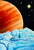 Artwork of Europa's surface,& Jupiter in the sky
