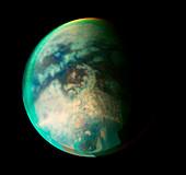 Surface features on Titan,Cassini image