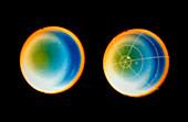 Pair of vayager 2 images of Uranus