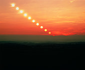 Time-lapse photo of sun setting over Chilterns