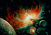 Planets near Orion nebula