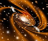 Radio galaxy,computer artwork