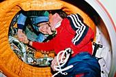 Historic handshake after first Shuttle-Mir docking