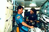 US astronauts on Mir