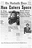 Newspaper announcing 'Man Enters Space'