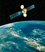 Artwork of a communication satellite over Earth