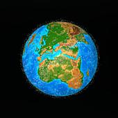 Computer art of debris in orbit around the earth