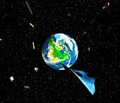 Artwork of debris in orbit around the earth