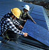 Array of photovoltaic cells on a roof of a house