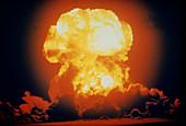 Detonation of a hydrogen bomb at Bikini Atoll