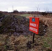 Asbestos danger warning sign
