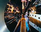 Interior of Nova laser fusion test chamber