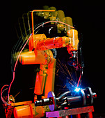 Computer-controlled electric arc-welding robot
