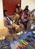 Agricultural tools at a market