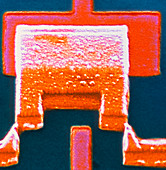 Coloured SEM of a single-electron transistor