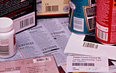 Bar codes on a range of common products