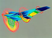 CAD graphic of the Hyper-X aircraft in flight