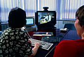 Television in use during a video conference