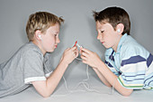 Boys listening to music