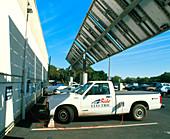 Electric cars recharging using solar power