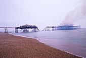 Brighton West Pier on fire