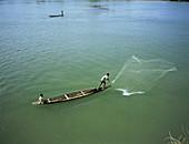 Men fishing,Laos,Asia