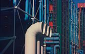 Air conditioning pipes on Pompidou Centre ,Paris