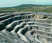 Penrhyn slate quarry showing terraces,Wales
