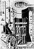 Water wheel driving a water pump
