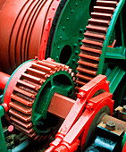 Cogs in a steam winding engine of a colliery