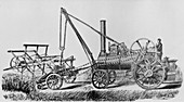 Traction engine powering a reaping machine