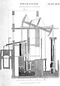 Artwork of a steam engine designed by James Watt