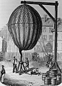 Filling of a hydrogen balloon,engraving