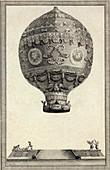 First manned hot air balloon flight,1783