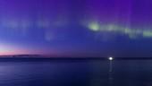 Aurora borealis over glacier, Iceland