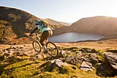 Mountain bikers,Helvellyn Range,UK