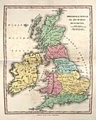 Map of Ancient Britannia,19th century