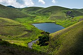 Grassy hills and lake,India