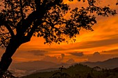 Sunset over forested hills,India