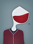 Female alcoholic,illustration