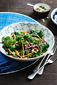 Kale with soya beans, carrots, red cabbage and pumpkin seeds