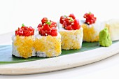 Ura-maki with tomato coulis and flying fish roe