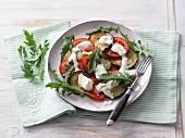 Auberginen-Tomaten-Carpaccio mit Käsecreme und Rucola