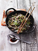 Oriental stir-fried minced meat with leek and bean sprouts