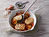 Mediterranean fried vegetables with halloumi
