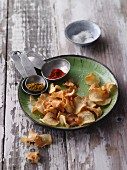 Homemade parsnip crisps with spices