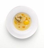 Asparagus soup with Parmesan cheese and egg yolk