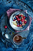 Muesli with berries and honey