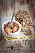 Wholegrain crackers with sage and walnut pate